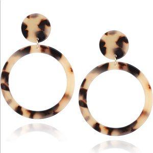 Drop circle tortoise earrings